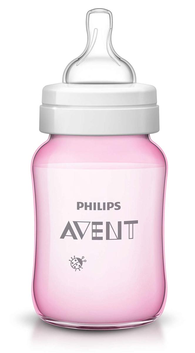 Philips Avent Бутылочка розовая c рисунком (Божья коровка), Classic+, 260 мл, 1шт SCF573/11 -  Бутылочки