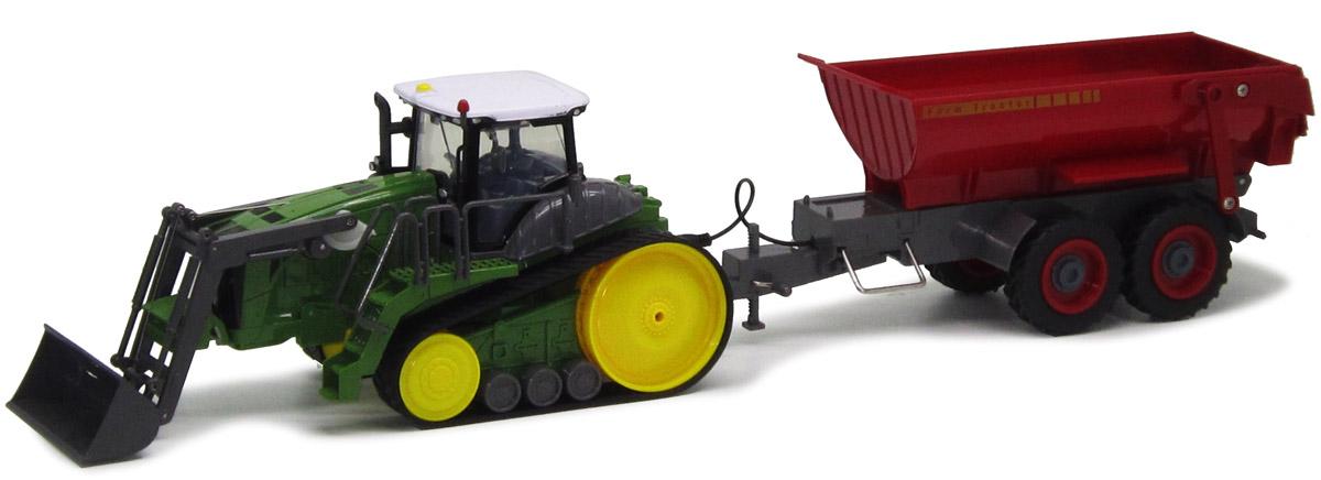 Пламенный мотор Трактор гусеничный на радиоуправлении с полуприцепом зеленый красный - Радиоуправляемые игрушки