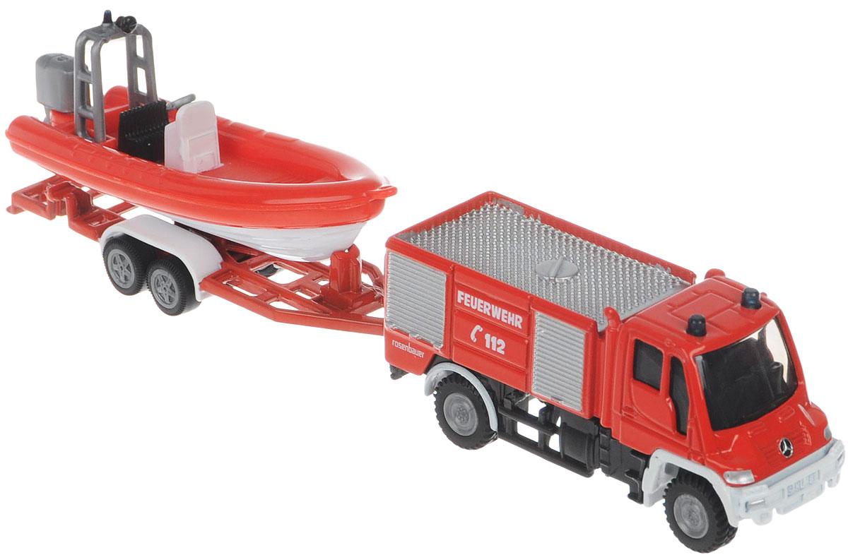 Siku Пожарная машина Unimog с катером тягач siku с катером на прицепе 1 87 красный 1613