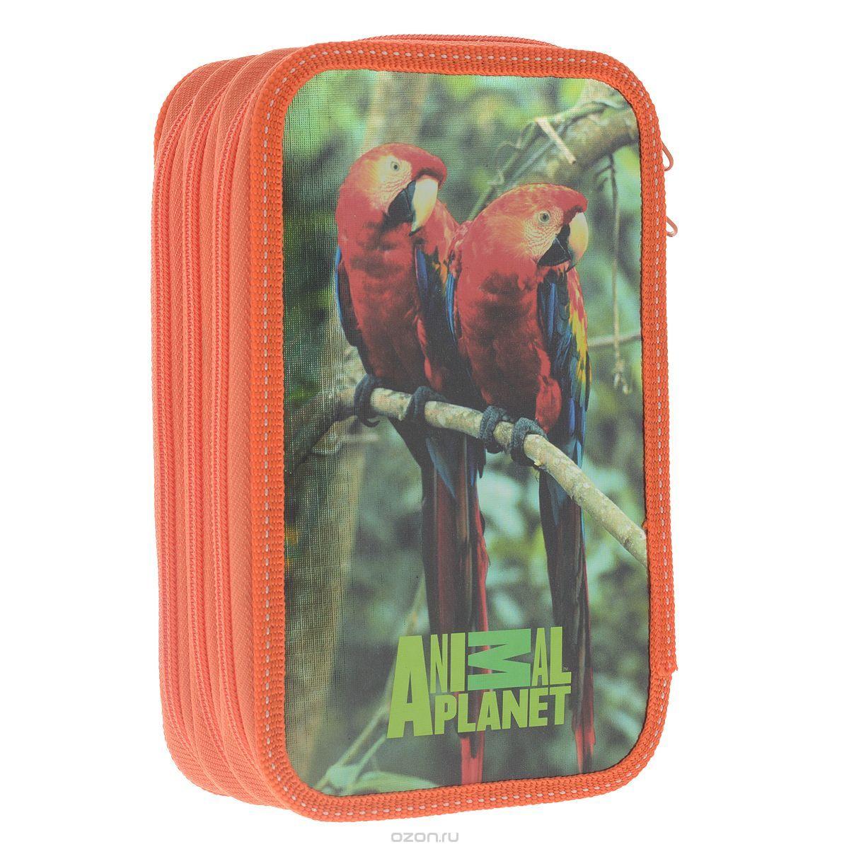 Action! Пенал Animal Planet цвет зеленый оранжевыйAP-PC03-02Пенал школьный, изготовлен из ламинированного металлизированного картона с пластиковой змейкой, без наполнения