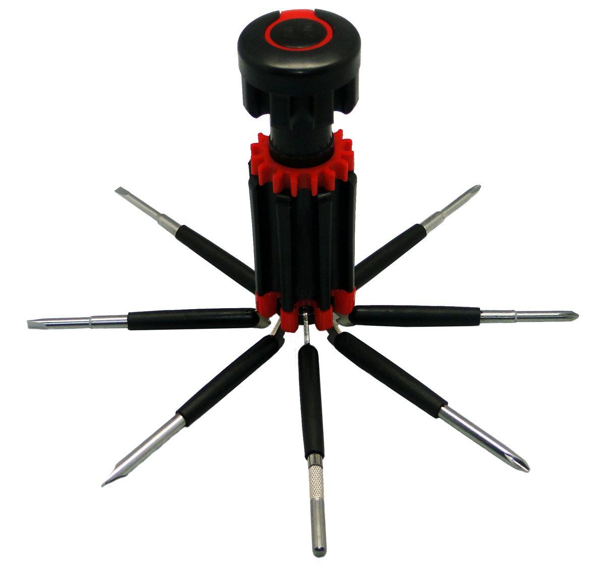 Отвертка Sapfire, многофункциональная5002-SASМногофункциональная отвертка Sapfire имеет компактный дизайн и легкий вес. Инструмент многофункциональный, содержит 8 разных отверток: 4 крестовые, 4 шлицевые. Магнитный наконечник изготовлен из углеродной стали. Экстра-стойкий механизм, электроизолируемая ручка. Отвертка дополнена клипсой для крепления на одежду.Инструмент дополнен светодиодным фонариком (питание 3хААА).Батарейки в комплект не входят.