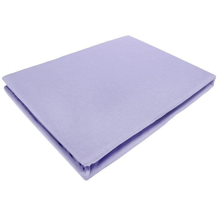 Простыня на резинке ЭГО, цвет: фиолетовый, 160 х 200 смЭ-ПР-02-34Трикотажная простыня ЭГО изготовлена из 100 % хлопка высокого качества. Натуральный, экологически чистый материал обеспечивает высокую гигиеничность изделия. Трикотаж имеет специальную структуру, образованную переплетением петель, что обеспечивает его растяжимость и эластичность. Наличие резинки позволяет легко зафиксировать простыню на матрасе. Она не сминается и не комкается во время сна. Трикотаж достаточно эластичен, поэтому изделия из него можно даже не гладить. Если простыня немного больше кровати, с помощью резинки ее можно подогнать под размер кровати, учитывая толщину матраса. Также ее можно использовать в качестве наматрасника. Резинка пришита по всему периметру простыни. Плотность 140 г/м2. Уход: машинная стирка при температуре 60°C. Не отбеливать.