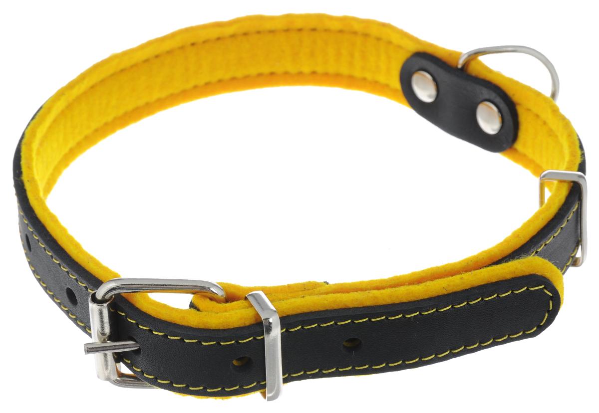Ошейник для собак Аркон Фетр, цвет: желтый, черный, ширина 2,5 см, длина 57 смоф25жОшейник Аркон Фетр изготовлен из высококачественной натуральной кожи, устойчивой к влажности и перепадам температур, и фетра. Мягкий фетр предотвратит натирание шеи собаки ошейником и позволит ей с комфортом наслаждаться прогулкой. Размер ошейника регулируется с помощью металлической пряжки, которая фиксируется на одном из 6 отверстий изделия. Ошейник отличается высоким качеством, удобством и универсальностью.Минимальный обхват шеи: 35 см. Максимальный обхват шеи: 49 см. Ширина: 2,5 см.