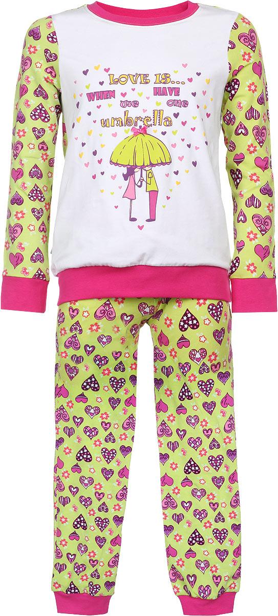 Пижама для девочки KitFox, цвет: салатовый, фуксия, фиолетовый. AW15-UAT-GST-148. Размер 116/122AW15-UAT-GST-148Пижама для девочки KitFox, состоящая из футболки с длинным рукавом и брюк, идеально подойдет вашему ребенку. Пижама выполнена из хлопка c добавлением эластана, она очень мягкая и приятная на ощупь, не сковывает движения и позволяет коже дышать, не раздражает даже самую нежную и чувствительную кожу ребенка, обеспечивая ему наибольший комфорт. Футболка с длинными рукавами и круглым вырезом горловины оформлена оригинальным принтом в виде сердечек. Вырез горловины и манжеты на рукавах дополнены трикотажными эластичными резинками.Брюки на талии имеют эластичную резинку и текстильный шнурок, благодаря чему они не сдавливают животик ребенка и не сползают. Модель оформлена принтом в виде сердечек. Пижама станет отличным дополнением к детскому гардеробу. В ней ваш ребенок будет чувствовать себя комфортно и уютно во время сна.