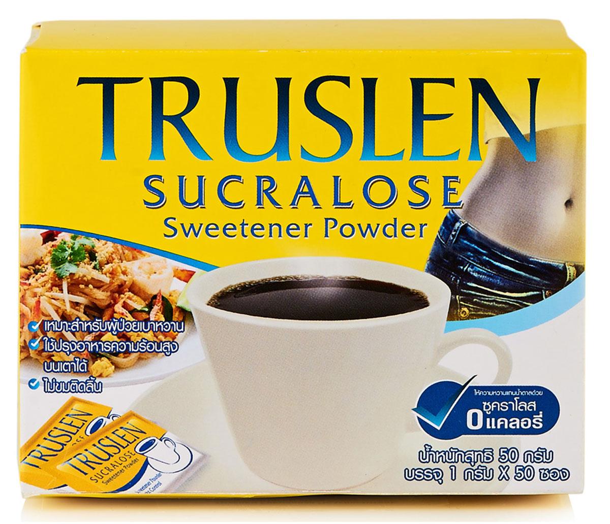 Truslen Sucralose подсластитель, 50 г0174Сахарозаменитель Truslen Sucralose, не содержащий калорий, может быть использован с напитками, а также в кулинарии, в том числе при приготовлении горячих блюд, поскольку не имеет горьковатого привкуса. Допустим для людей, поддерживающих диету или имеющих проблему повышенного уровня сахара в крови. Продукт готов к употреблению.Растворите содержимое пакетика для подслащивания по вкусу. 1 пакетик соответствует 2-3 чайным ложкам сахара.Применяется в кулинарии при приготовлении выпечки и любых горячих блюд.Подходит для подслащивания холодных и горячих напитков.Удобен в использовании. Не требует длительного растворения, поскольку имеет порошкообразную форму. Незаменим для подслащивания каш и творога. А главное вообще не содержит калорий.