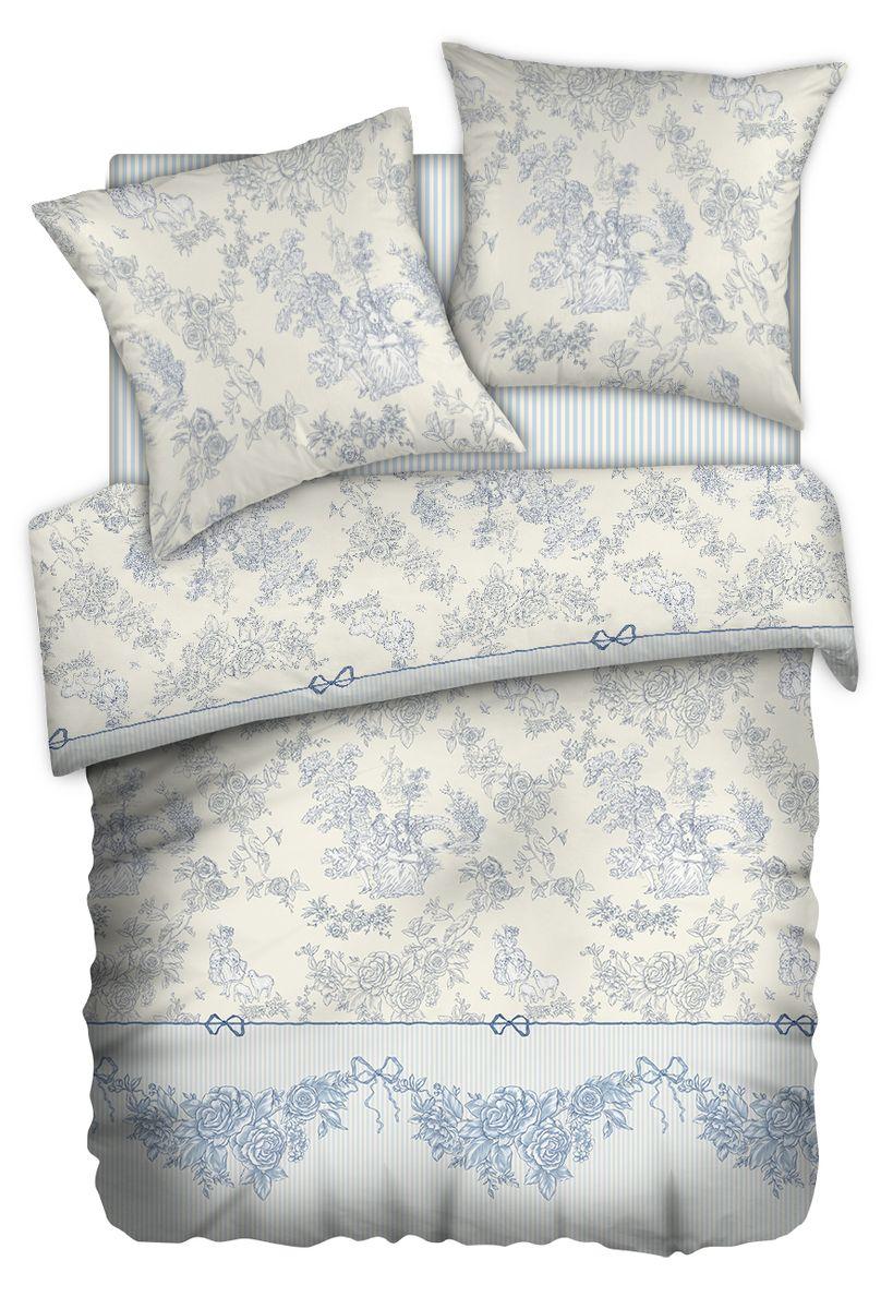 Комплект белья Carte Blanshe Toile de Jouy, 2-спальный, наволочки 70x70, цвет: серый, бежевый, синий333479Комплект белья Carte Blanshe Toile de Jouy, выполненный из перкаля (100% хлопка), состоит из пододеяльника, простони и двух наволочек. Благодаря специальной обработке ткань приятная на ощупь, шелковистая и практически не мнется. Постельное белье Carte Blanshe Shibori, оформленное оригинальным орнаментом, украсит интерьер спальной комнаты и подарит комфортный сон.