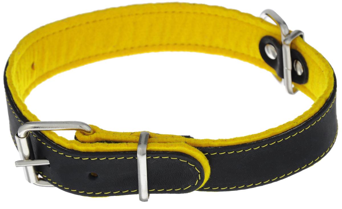 Ошейник Аркон Фетр, цвет: черный, желтый, ширина 3,5 см, длина 61 см. оф35оф35жОшейник Аркон Фетр изготовлен из высококачественной натуральной кожи, устойчивой к влажности и перепадам температур, и фетра. Мягкий фетр предотвратит натирание шеи собаки ошейником и позволит ей с комфортом наслаждаться прогулкой.Клеевой слой, сверхпрочные нити, крепкие металлические элементы делают ошейник надежным и долговечным.Изделие отличается высоким качеством, удобством и универсальностью.Размер ошейника регулируется при помощи пряжки, зафиксированной на одном из 6 отверстий. Минимальный обхват шеи: 41 см. Максимальный обхват шеи: 55 см. Ширина: 3,5 см.