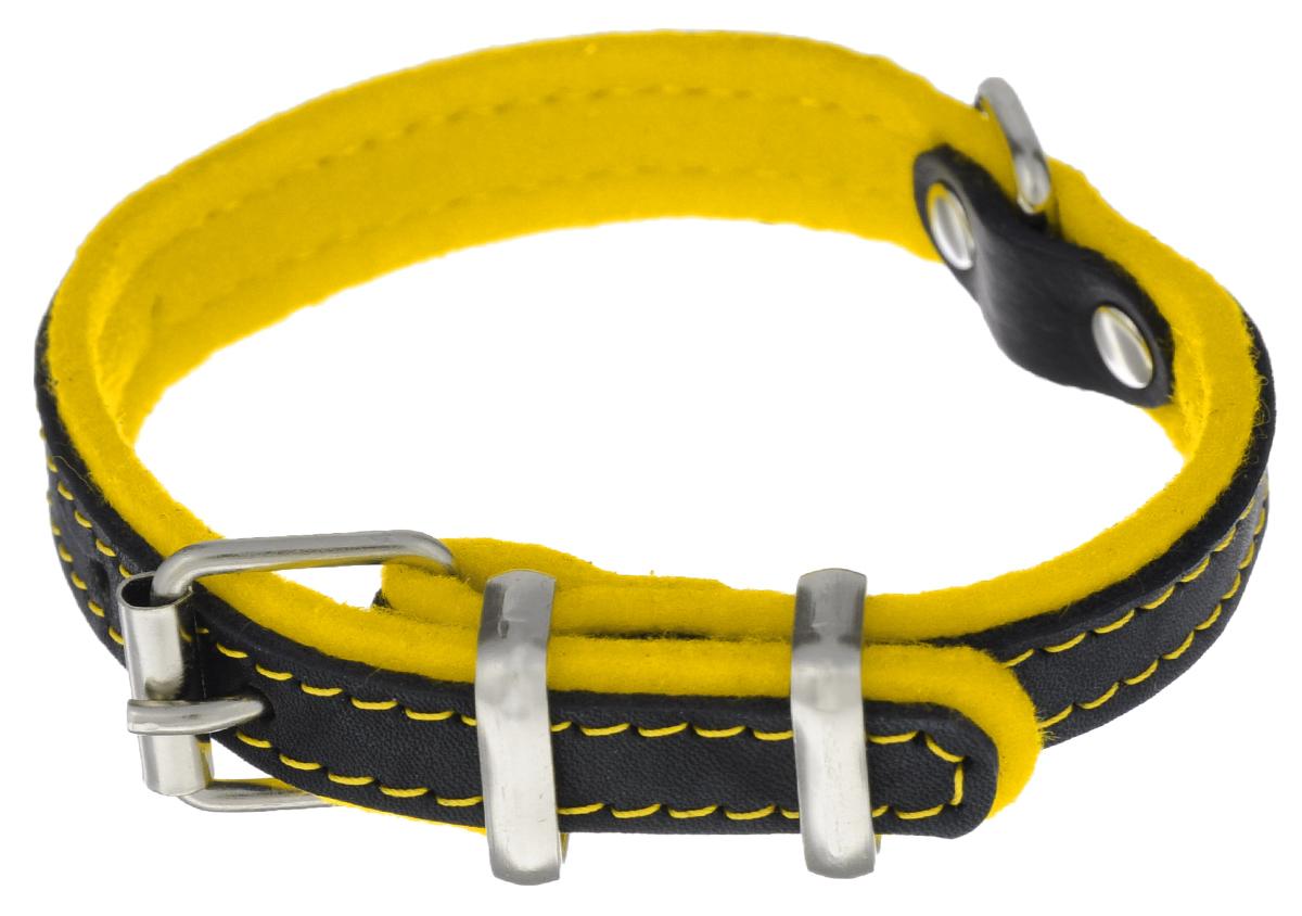 Ошейник для собак Аркон Фетр, цвет: черный, желтый, ширина 1,6 см, длина 32 см. оф16оф16жОшейник Аркон Фетр изготовлен из высококачественной натуральной кожи, устойчивой к влажности и перепадам температур, и фетра. Мягкий фетр предотвратит натирание шеи собаки ошейником и позволит ей с комфортом наслаждаться прогулкой.Клеевой слой, сверхпрочные нити, крепкие металлические элементы делают ошейник надежным и долговечным.Изделие отличается высоким качеством, удобством и универсальностью.Размер ошейника регулируется при помощи пряжки, зафиксированной на одном из 5 отверстий. Минимальный обхват шеи: 21 см. Максимальный обхват шеи: 28 см. Ширина: 1,6 см.