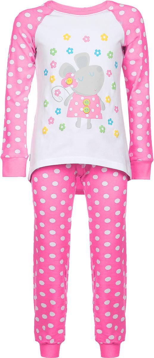 Пижама для девочки KitFox, цвет: розовый, белый. AW15-UAT-GST-151. Размер 104/110AW15-UAT-GST-151Пижама для девочки KitFox, состоящая из футболки с длинным рукавом и брюк, идеально подойдет вашему ребенку. Пижама выполнена из хлопка c добавлением эластана, она очень мягкая и приятная на ощупь, не сковывает движения и позволяет коже дышать, не раздражает даже самую нежную и чувствительную кожу ребенка, обеспечивая ему наибольший комфорт. Футболка с длинными рукавами и круглым вырезом горловины оформлена оригинальным принтом в горох, изображением забавной мышкии цветов. Вырез горловины и манжеты на рукавах дополнены трикотажными эластичными резинками.Брюки на талии имеют эластичную резинку и текстильный шнурок, благодаря чему они не сдавливают животик ребенка и не сползают. Модель оформлена принтом в крупный горох. Пижама станет отличным дополнением к детскому гардеробу. В ней ваш ребенок будет чувствовать себя комфортно и уютно во время сна.