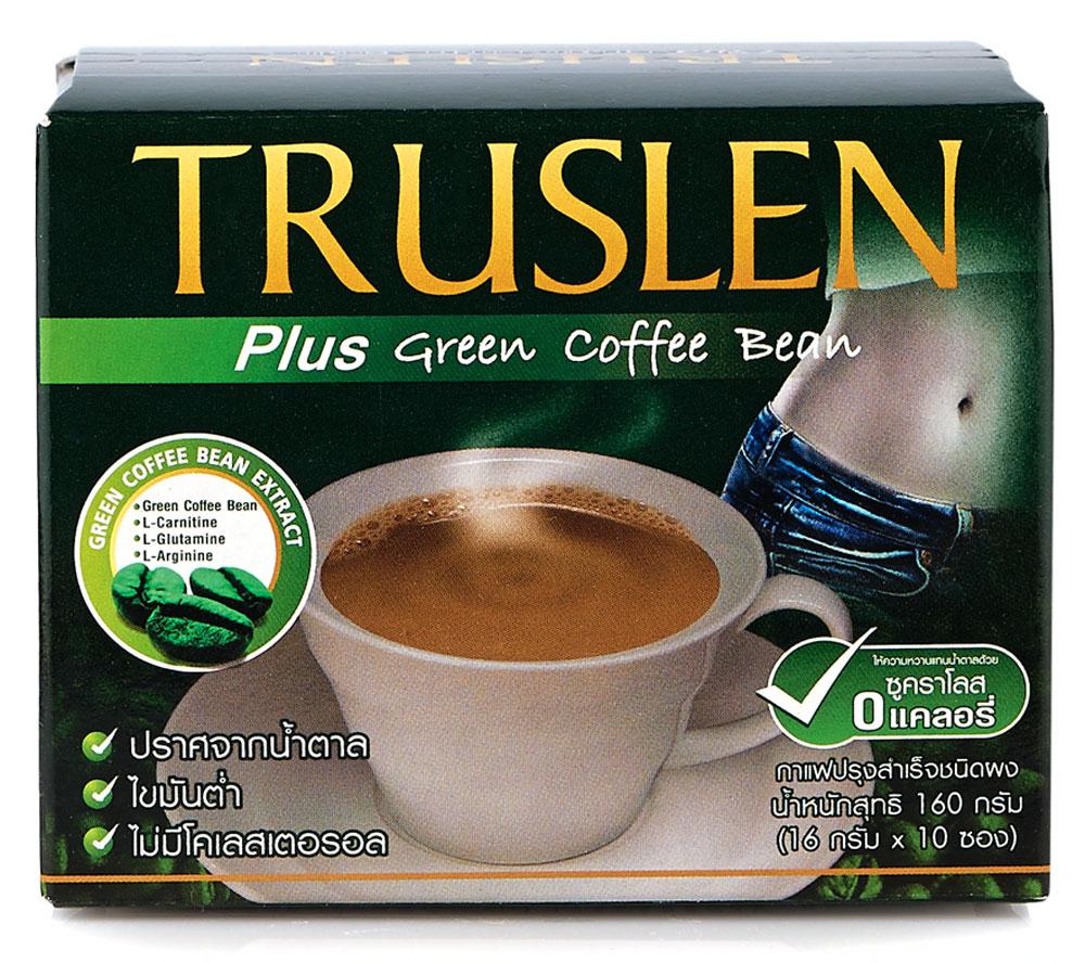 Truslen Plus Green Coffee Bean кофейный напиток в пакетиках, 10 шт2317Полезный, быстрорастворимый напиток Truslen Plus Green Coffee Bean, позволяющий контролировать массу тела. Не содержит сахара, консервантов, стабилизаторов, красителей и эмульгаторов.Двойной эффект: не обжаренные зеленые кофейные зерна уменьшают стресс, обжаренные - тонизируют. Содержит комплекс аминокислот, оказывающих общеукрепляющее и тонизирующее действие. Позволяет контролировать массу тела за счет содержания Л-карнитина.