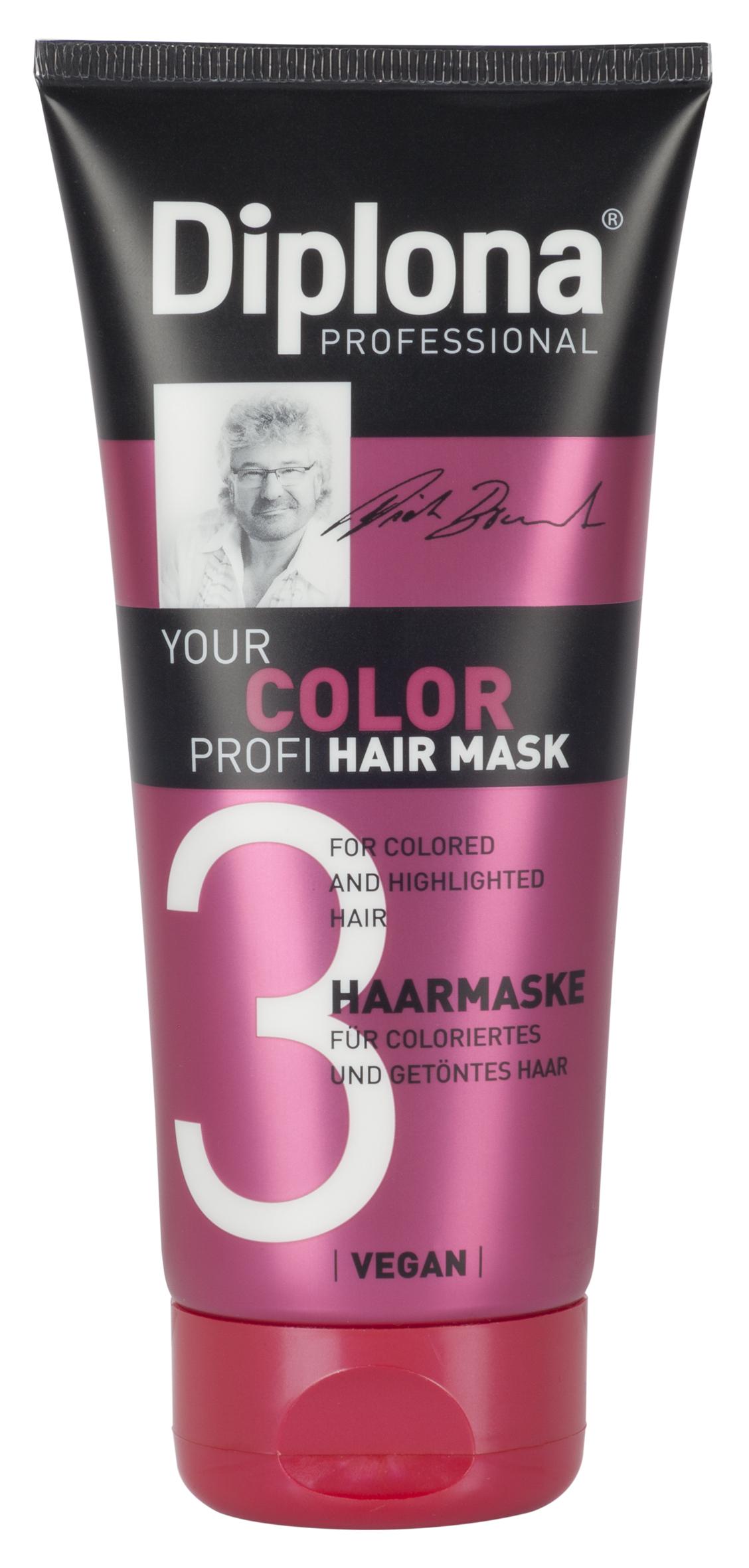 Маска для волос Diplona Professional Your Color Profi, для окрашенных и мелированных волос, 200 мл95181Маска для волос Diplona Professional Your Color Profi - бережный уход для окрашенных и мелированных волос. Основные компоненты: Масло жожоба - богато витамином Е, активизирует процессы регенерации. Обеспечивает защитный слой, не оставляет жирного блеска на коже и волосах. Пантенол - помогает восстановить поврежденные волосяные луковицы и секущиеся концы волос. УФ фильтр осторожно обволакивает волосы, тем самым защищая их от неблагоприятных факторов окружающей среды и предотвращая сухость, ломкость, потускнение и изменение цвета окрашенных и мелированных волос. Экстракт инжира - глубоко увлажняет и смягчает волосы, оказывает восстанавливающее действие. Витамин B3 - способствует росту волос. Протеины пшеницы - способствуют восстановлению блеска и эластичности волос, поддерживает и восстанавливает расщепленные кончики волос, что особенно актуально при использовании красителей для волос. Экстракт Алоэ Вера - регулирует водный баланс волос, способствует сохранению влаги и поддержанию великолепного внешнего вида волос. Характеристики: Объем: 200 мл. Производитель: Германия. Артикул: 95181.Diplona Professionalсуществует на немецком рынке более 40 лет, была разработана совместно с лучшим стилистом, неоднократным победителем конкурсов парикмахерского искусства Германии и основателем немецких салонов красоты с 60-летней историей Дитером Брюннетом.Товар сертифицирован.
