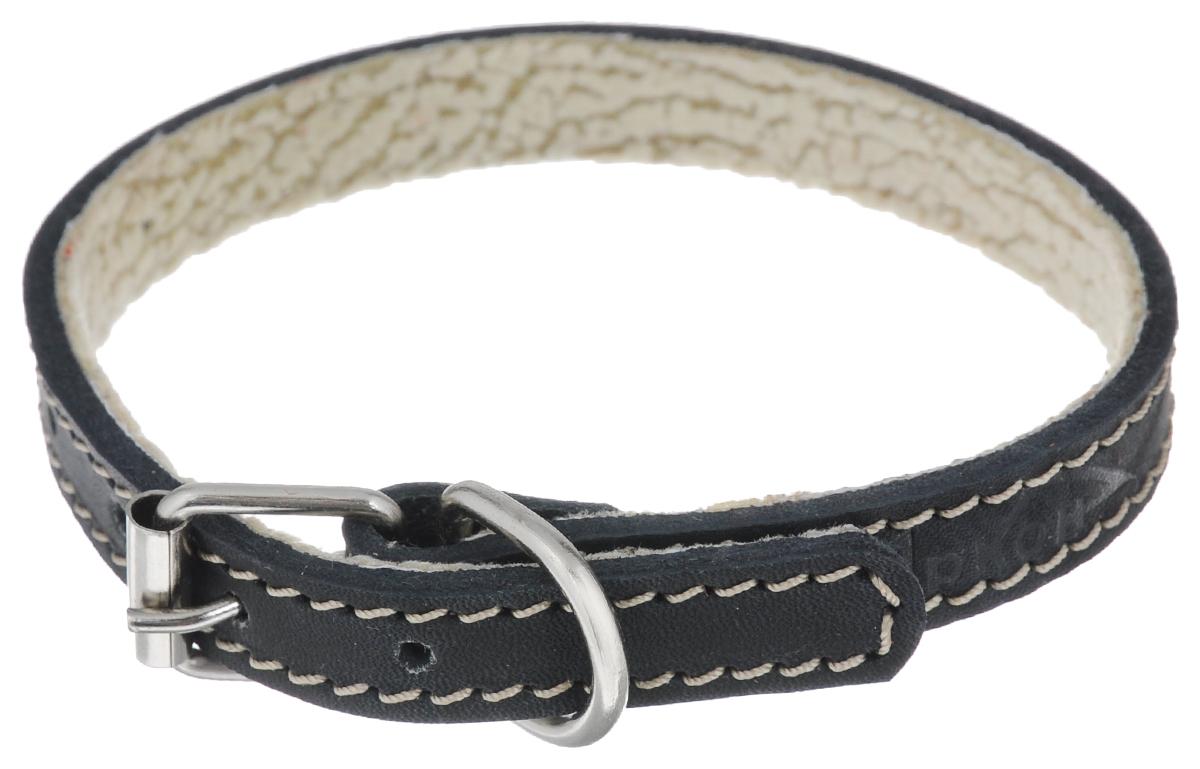 Ошейник для собак Аркон Стандарт, цвет: черный, ширина 1,4 см, длина 32 см. о14по14пчОшейник для собак Аркон Стандарт изготовлен из натуральной кожи, устойчивой к влажности и перепадам температур. Клеевой слой, сверхпрочные нити, крепкие металлические элементы делают ошейник надежным и долговечным. На стороне, соприкасающейся с шеей, имеется подкладка из мягкой ткани.Изделие отличается высоким качеством, удобством и универсальностью.Размер ошейника регулируется при помощи пряжки, зафиксированной на одном из 6 отверстий. Минимальный обхват шеи: 20,5 см. Максимальный обхват шеи: 28,5 см. Ширина ошейника: 1,4 см.Длина ошейника: 32 см.