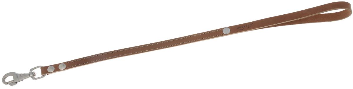 Водилка для собак Аркон Стандарт, цвет: коньячный, ширина 1,6 см, длина 60 смв16/2кВодилка для собак Аркон Стандарт изготовлена из высококачественной натуральной кожи. Карабин выполнен из сверхпрочного металла. Водилка - это короткий поводок, состоящий из одной ручки с петлей и мощного карабина. Этот поводок используется для ведения большой собаки рядом. Изделие отличается не только исключительной надежностью и удобством, но и привлекательным современным дизайном.Длина водилки: 60 см.Ширина водилки: 1,6 см.