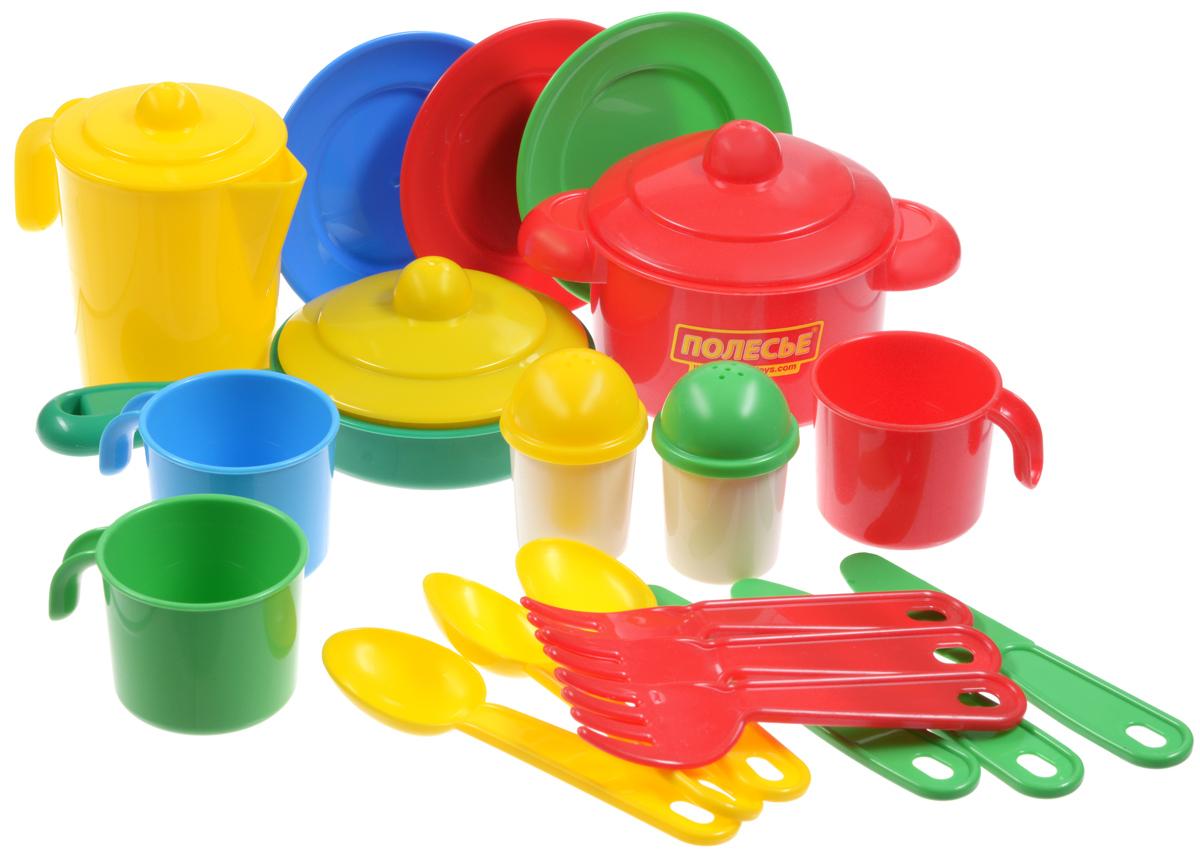 Полесье Набор детской посуды Настенька цвет красный зеленый желтый 20 предметов полесье набор для песочницы 406