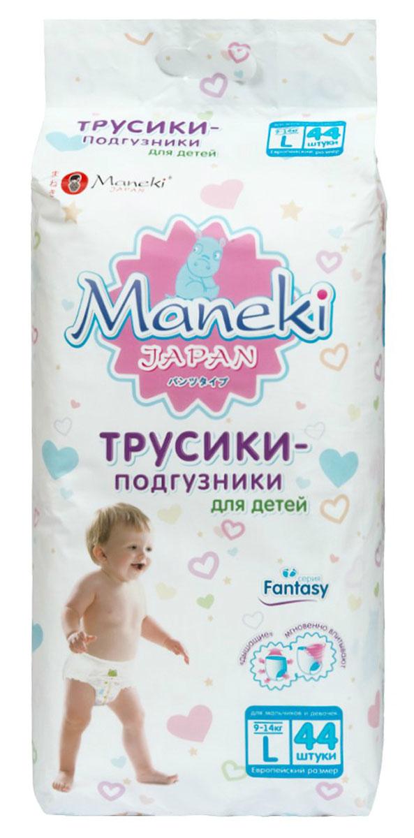 Maneki Подгузники-трусики детские одноразовые Fantasy размер L 9-14 кг 44 шт - Подгузники и пеленки