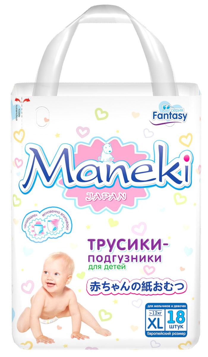 Maneki Подгузники-трусики детские одноразовые Mini размер XL от 12 кг 18 шт