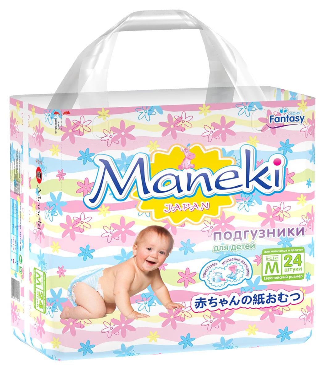 Maneki Подгузники детские одноразовые Mini размер M 6-11 кг 24 шт подгузники maneki fantasy xl 12 кг 48 шт