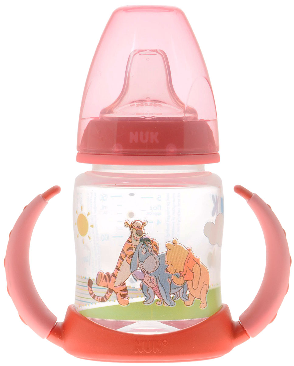 NUK Бутылочка-поильник Disney с силиконовым носиком от 6 до 18 месяцев цвет коралловый 150 мл -  Бутылочки