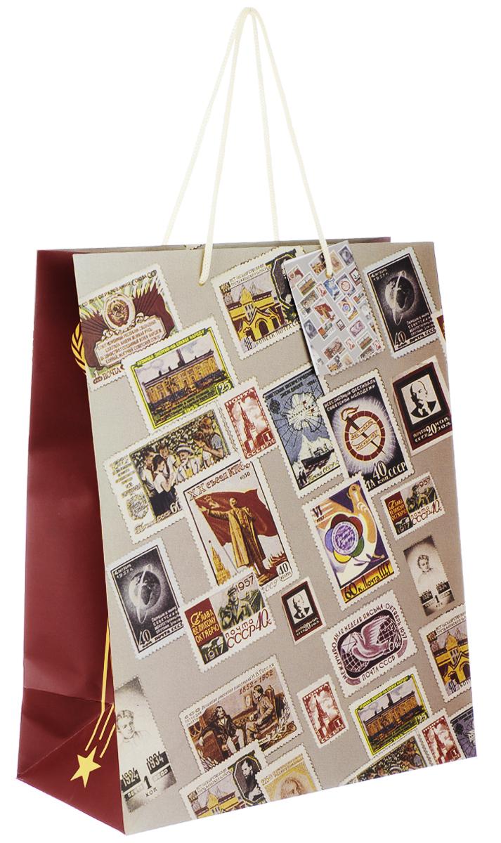 Пакет подарочный Феникс-Презент Почтовые марки, 26 х 12,7 х 32,4 см39662Подарочный пакет Феникс-презент Почтовые марки, изготовленный из плотной бумаги, станет незаменимым дополнением к выбранному подарку. Дно изделия укреплено картоном, который позволяет сохранить форму пакета и исключает возможность деформации дна под тяжестью подарка. Пакет выполнен с глянцевой ламинацией, что придает ему прочность, а изображению - яркость и насыщенность цветов. Для удобной переноски на пакете имеются две ручки из шнурков.Подарок, преподнесенный в оригинальной упаковке, всегда будет самым эффектным и запоминающимся. Окружите близких людей вниманием и заботой, вручив презент в нарядном, праздничном оформлении.Плотность бумаги: 140 г/м2.
