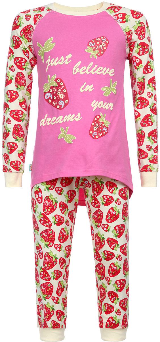Пижама для девочки KitFox, цвет: розовый, красный, желтый. AW15-UAT-GST-149. Размер 128/134AW15-UAT-GST-149Пижама для девочки KitFox, состоящая из футболки с длинным рукавом и брюк, идеально подойдет вашему ребенку. Пижама выполнена из хлопка c добавлением эластана, она очень мягкая и приятная на ощупь, не сковывает движения и позволяет коже дышать, не раздражает даже самую нежную и чувствительную кожу ребенка, обеспечивая ему наибольший комфорт. Футболка с длинными рукавами и круглым вырезом горловины оформлена ярким принтом с изображением ягод клубники и принтовыми надписями. Вырез горловины и манжеты на рукавах дополнены трикотажными эластичными резинками.Брюки на талии имеют эластичную резинку и текстильный шнурок, благодаря чему они не сдавливают животик ребенка и не сползают. Модель оформлена принтом в виде ягод клубники. Пижама станет отличным дополнением к детскому гардеробу. В ней ваш ребенок будет чувствовать себя комфортно и уютно во время сна.