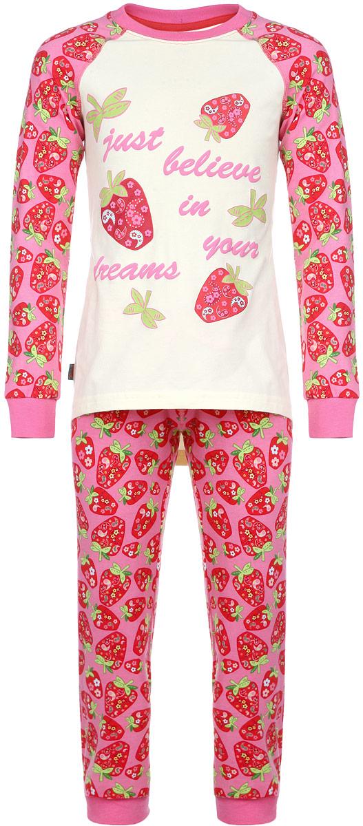 Пижама для девочки KitFox, цвет: желтый, розовый, красный. AW15-UAT-GST-149. Размер 116/122AW15-UAT-GST-149Пижама для девочки KitFox, состоящая из футболки с длинным рукавом и брюк, идеально подойдет вашему ребенку. Пижама выполнена из хлопка c добавлением эластана, она очень мягкая и приятная на ощупь, не сковывает движения и позволяет коже дышать, не раздражает даже самую нежную и чувствительную кожу ребенка, обеспечивая ему наибольший комфорт. Футболка с длинными рукавами и круглым вырезом горловины оформлена ярким принтом с изображением ягод клубники и принтовыми надписями. Вырез горловины и манжеты на рукавах дополнены трикотажными эластичными резинками.Брюки на талии имеют эластичную резинку и текстильный шнурок, благодаря чему они не сдавливают животик ребенка и не сползают. Модель оформлена принтом в виде ягод клубники. Пижама станет отличным дополнением к детскому гардеробу. В ней ваш ребенок будет чувствовать себя комфортно и уютно во время сна.