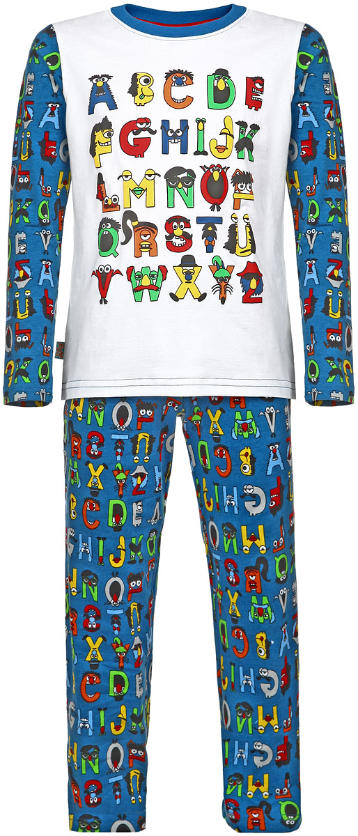 Пижама для мальчика KitFox, цвет: синий, белый. AW15-UAT-BST-053. Размер 104/110AW15-UAT-BST-053Пижама для мальчика KitFox, состоящая из футболки с длинным рукавом и брюк, идеально подойдет вашему ребенку. Пижама выполнена из хлопка c добавлением эластана, она очень мягкая и приятная на ощупь, не сковывает движения и позволяет коже дышать, не раздражает даже самую нежную и чувствительную кожу ребенка, обеспечивая ему наибольший комфорт. Футболка с длинными рукавами и круглым вырезом горловины оформлена ярким принтом в виде букв английского алфавита. Вырез горловины дополнен трикотажной резинкой. Брюки прямого кроя на талии имеют широкую эластичную резинку, которая не позволяет брюкам сползать, не сдавливая животик ребенка.В такой пижаме ваш ребенок будет чувствовать себя комфортно и уютно во время сна.