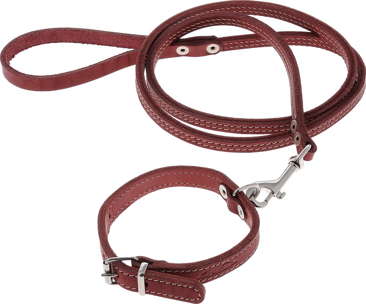 Комплект для собак Аркон Стандарт №7, цвет: красный, 2 предмета комплект для собак аркон стандарт 6 цвет светло коричневый 2 предмета