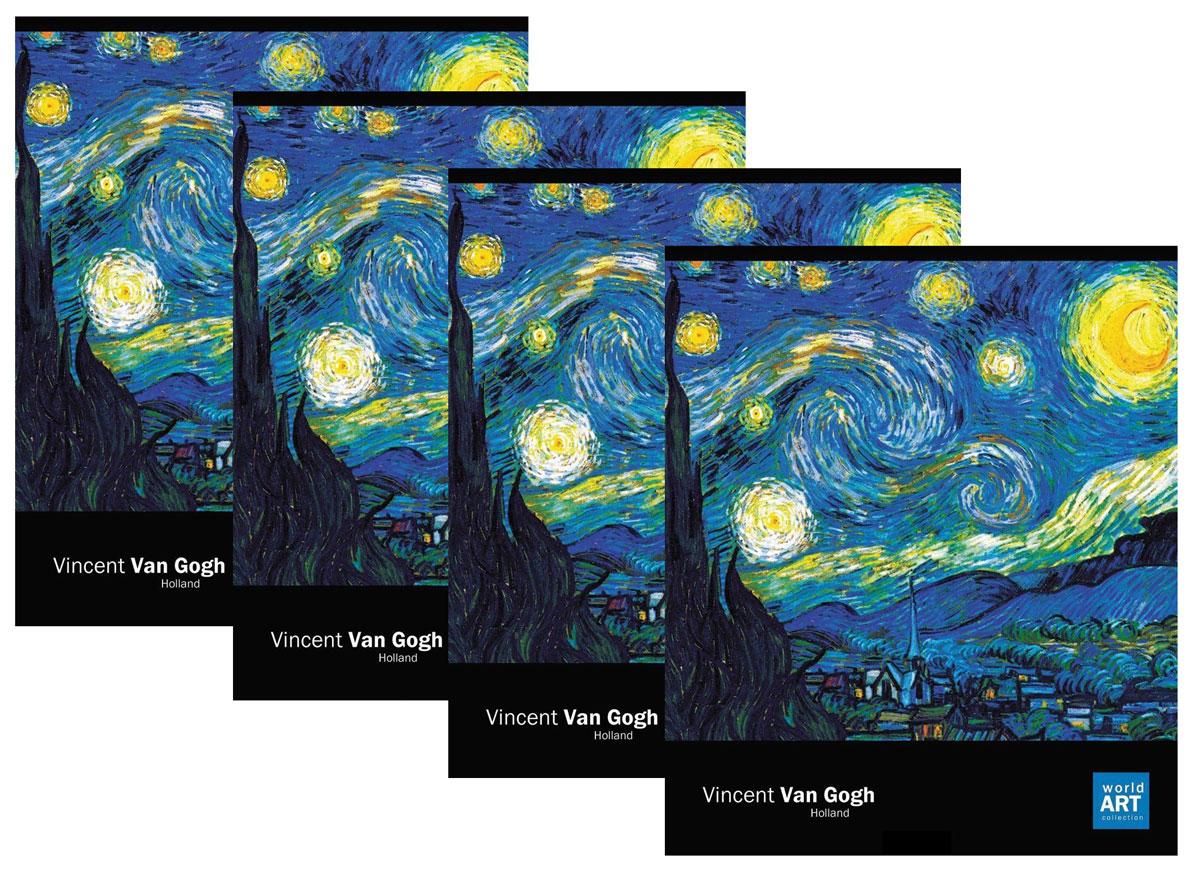 Action! Набор тетрадей Импрессионисты Ван Гог Звездная ночь 48 листов в клетку 4 штAN 4860/5Тетрадь на 48 листов от отечественного производителя бумажной канцелярии. Сделана из высококачественного мелованного картона. Оригинальная цветовая раскраска. Отличное сочетание цены и качества - именно то что вам нужно.Обращаем Ваше внимание, что тетради в комплекте могут иметь одинаковый дизайн!