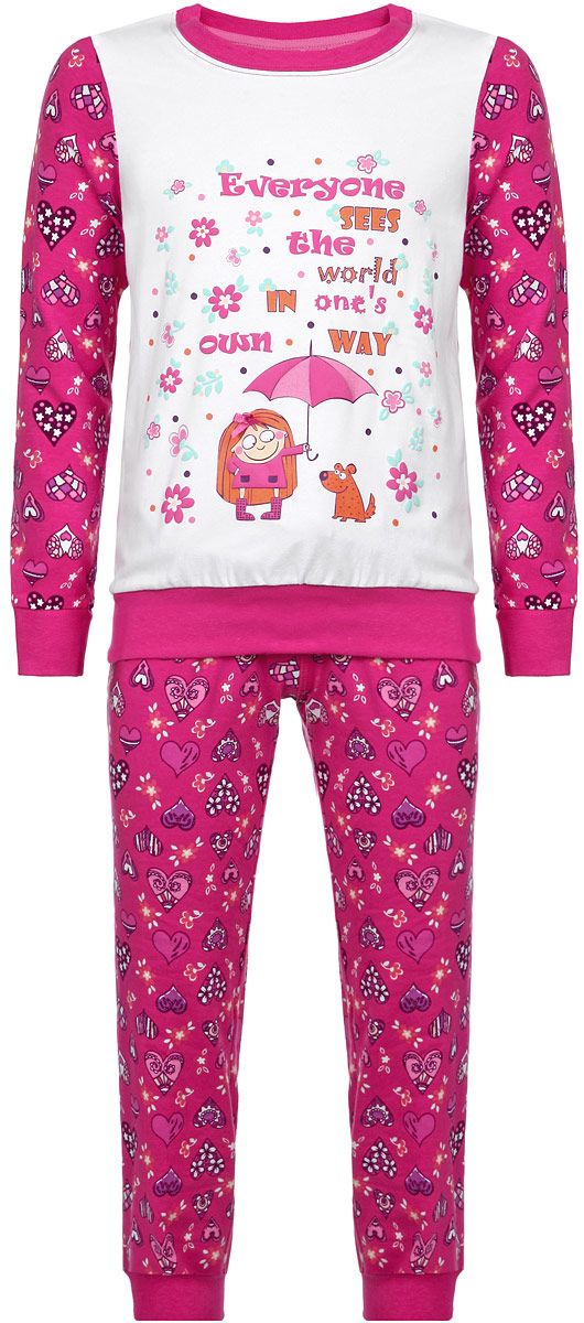 Пижама для девочки KitFox, цвет: фуксия, белый, фиолетовый. AW15-UAT-GST-148. Размер 116/122AW15-UAT-GST-148Пижама для девочки KitFox, состоящая из футболки с длинным рукавом и брюк, идеально подойдет вашему ребенку. Пижама выполнена из хлопка c добавлением эластана, она очень мягкая и приятная на ощупь, не сковывает движения и позволяет коже дышать, не раздражает даже самую нежную и чувствительную кожу ребенка, обеспечивая ему наибольший комфорт. Футболка с длинными рукавами и круглым вырезом горловины оформлена оригинальным принтом в виде сердечек. Вырез горловины и манжеты на рукавах дополнены трикотажными эластичными резинками.Брюки на талии имеют эластичную резинку и текстильный шнурок, благодаря чему они не сдавливают животик ребенка и не сползают. Модель оформлена принтом в виде сердечек. Пижама станет отличным дополнением к детскому гардеробу. В ней ваш ребенок будет чувствовать себя комфортно и уютно во время сна.