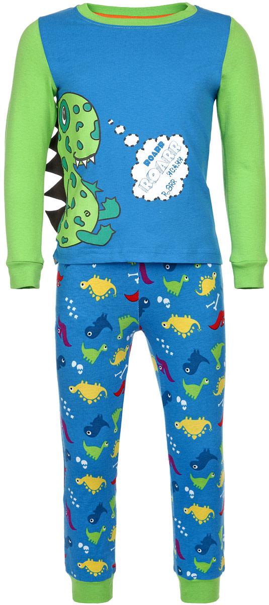 Пижама для мальчика KitFox, цвет: голубой, салатовый. AW15-UAT-BST-056. Размер 92/98AW15-UAT-BST-056Пижама для мальчика KitFox, состоящая из футболки с длинным рукавом и брюк, идеально подойдет вашему ребенку. Пижама выполнена из хлопка c добавлением эластана, она очень мягкая и приятная на ощупь, не сковывает движения и позволяет коже дышать, не раздражает даже самую нежную и чувствительную кожу ребенка, обеспечивая ему наибольший комфорт. Футболка с длинными рукавами и круглым вырезом горловины оформлена термоаппликацией с изображением забавного дракона. Вырез горловины и рукава дополнены трикотажными резинками. Брюки прямого кроя на талии имеют широкую эластичную резинку, которая не позволяет брюкам сползать, не сдавливая животик ребенка. Низ брючин дополнен широкими эластичными манжетами. Модель оформлена принтом с изображением драконов.В такой пижаме ваш ребенок будет чувствовать себя комфортно и уютно во время сна.