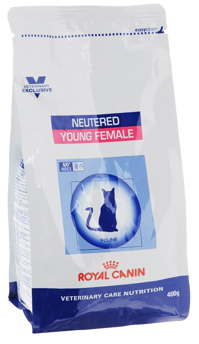 Корм сухой Royal Canin Young Female для стерилизованных кошек с момента операции до 7 лет, 400 г22256Royal Canin Young Female - полнорационный сухой корм для стерилизованных кошек с повышенной чувствительностью кожи и шерсти.Оптимальный вес: - обогащенная белками формула способствует лучшему поддержанию мышечного тонуса по сравнению с обычным режимом питания, повышению вкусовых качеств корма. При одном и том же уровне метаболизма белки дают на 30% меньше чистой энергии, чем углеводы. L-карнитин улучшает транспорт жирных кислот в митохондрии.Разбавление мочи:- увеличение объема мочи одновременно снижает содержание в ней минеральных веществ, из которых формируются струвитные и оксалатные кристаллы. Таким образом, создаются условия, неблагоприятные для образования камней в мочевыводящих путях.Барьерная функция кожи:- комплекс, состоящий из ниацина, инозита, холина, гистидина и пантотеновой кислоты, уменьшает потерю жидкости через кожу и усиливает ее барьерную функцию. S/O Index :Знак S/O Index на упаковке означает, что диета предназначена для создания в мочевыделительной системе среды, неблагоприятной для образования кристаллов оксалата кальция. Состав: дегидратированные белки животного происхождения (птица), кукуруза, рис, пшеничная клейковина, кукурузная клейковина, гидролизат, белков животного происхождения, растительная клетчатка, свекольный жом, минеральные вещества, рыбий жир, соевое масло, фруктоолигосахариды, экстракт бархатцев прямостоячих (источник лютеина). Добавки (в 1 кг): витамин A - 20500 ME, витамин D3 - 700 ME, железо - 46 мг, йод - 4,6 мг, марганец - 60 мг, цинк - 179 мг, сeлeн - 0,08 мг.Содержание питательных веществ: белки - 37%, жиры - 10%, минеральные вещества - 8,4%, клетчатка пищевая - 4,3%, медь - 15 мг/кг. Товар сертифицирован.