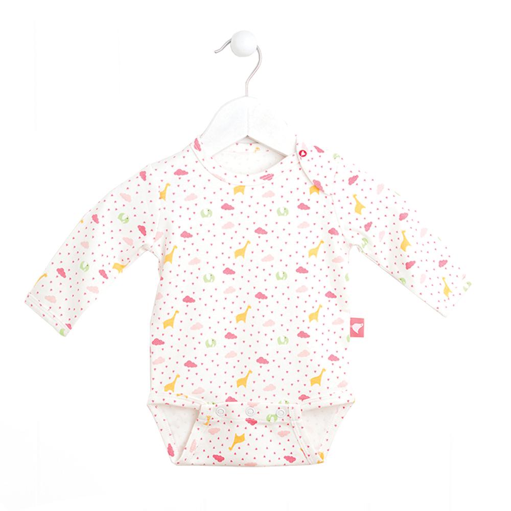 Боди с длинным рукавом для девочки Babydays It Rains Love, цвет: белый, розовый. bd11001. Размер 62, 0-3 месяца