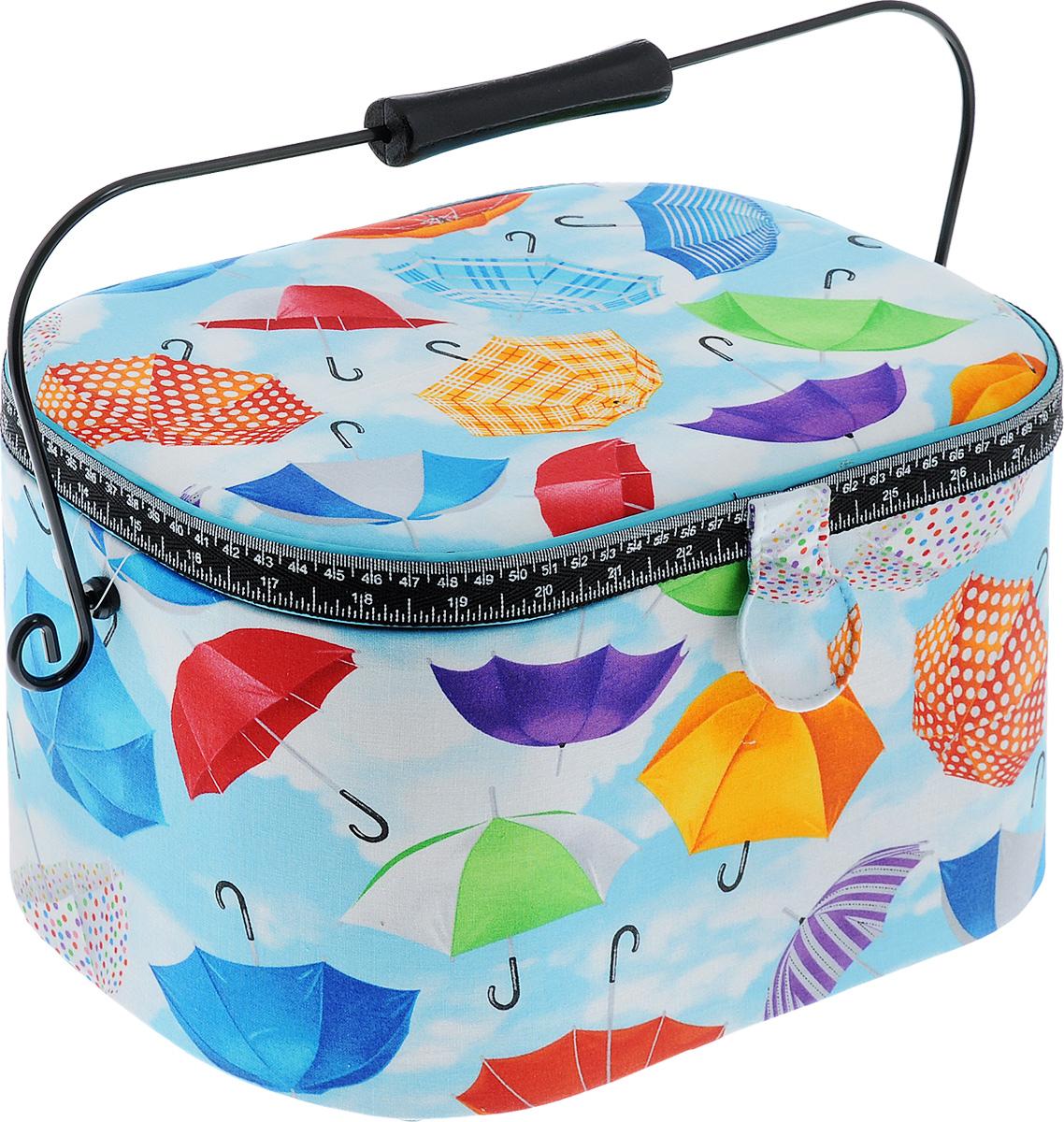 Шкатулка для рукоделия RTO Цветные зонтики, с вкладышем, 31 х 21 х 19 см