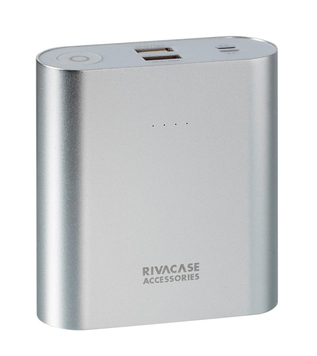 Rivapower VA1015 внешний аккумуляторVA 1015Rivapower VA1015 - литий-ионный внешний аккумулятор емкостью 15000 мАч. Устройство имеет два входа для заряда аккумуляторной батареи через кабель с Micro USB разъемом или через оригинальный кабель Apple Lightning. Два USB выхода с суммарным током до 3.1А позволяют быстро заряжать 2 устройства одновременно. Аккумулятор совместим с наиболее популярными мобильными устройствами, в том числе и с iPhone, iPad.Rivapower VA1015 автоматически включится при подключении мобильного устройства к аккумулятору и выключится при завершении зарядки. Четыре светодиодных индикатора на лицевой стороне показывают уровень заряда аккумулятора. Встроенная защита от перегрева, перезаряда, переразряда, перегрузки по току и короткого замыкания защитят прибор от порчи и выхода из строя.Надежный алюминиевый корпус предохраняет устройство от случайного повреждения, поглощает и отводит тепло, производимое аккумулятором. Полностью заряженный аккумулятор Rivapower VA1015 заряжает смартфон до 6 раз или планшет до 3 раз (в зависимости от емкости батареи мобильного устройства). Аккумуляторная батарея Rivapower VA1015 при правильной эксплуатации может быть заряжена более 500 раз.