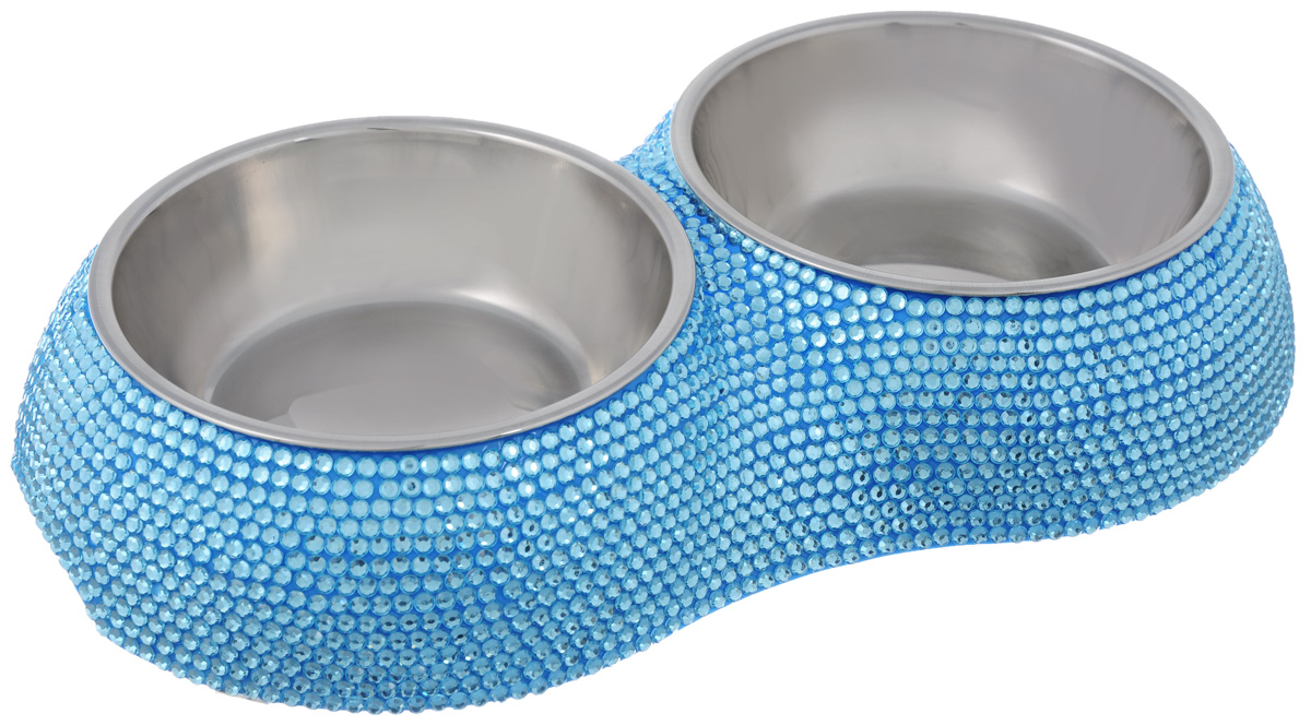 Миска для животных Happy Puppy, двойная, цвет: голубой, 2 х 250 мл