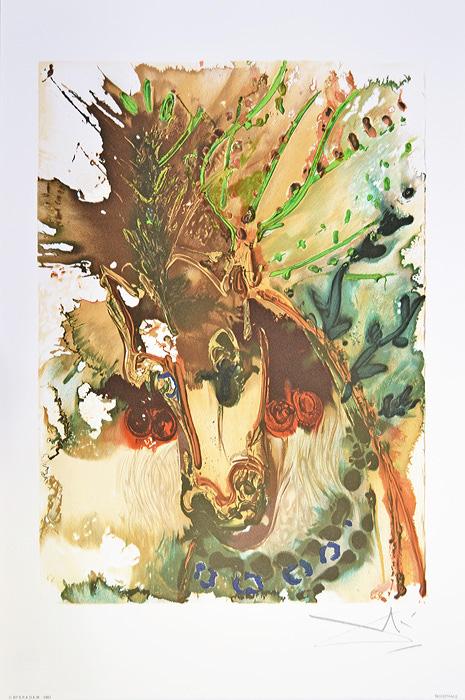Литография Буцефал. Сальвадор Дали. Серия Далинианские лощади (Les Chevaux de Dali). Франция, 1983 год60610002Великолепная работа Сальвадора Дали из знаменитой серии Les Chevaux de Dali (Далинианские лошади)!ПРЕВОСХОДНАЯ ИДЕЯ ДЛЯ ПОДАРКА!Цветная литография Буцефал (Bucephale), 1983 год. Автор - Сальвадор Дали (1904-1989), испанский художник, один из самых известных представителей сюрреализма.Размер листа 36,5 х 56 см. Размер мотива 30 х 40 см.Сохранность коллекционная.Лист № 4 из серии Les Chevaux de Dali (Далинианские лошади).В правом нижнем углу подпись автора на доске, ниже название работы. В левом нижнем углу - тисненый штамп издателя - Georges Israel Editeur, год издания и знак S.P.A.D.E.M.(S.P.A.D.E.M. - Societe de la Propriete Artistique et des Dessins et Modules - это официальная организация, занимающаяся защитой авторских прав художников и их наследников. Знак S.P.A.D.E.M. является подтверждением законности тиражирования того или иного произведения искусства).Бумага Arches. Сальвадор Дали (Salvador Dali; 1904 — 1989) — испанский живописец, график, скульптор, режиссёр, писатель. Один из самых известных представителей сюрреализма.