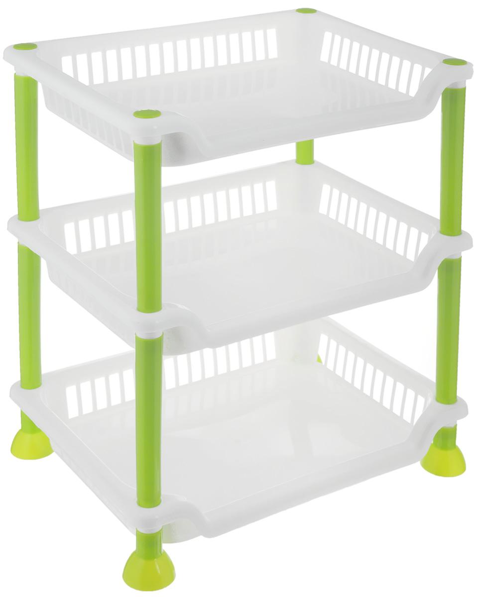 Этажерка Sima-land, 3-секционная, цвет: белый, салатовый, 29 х 21,5 х 33 см799887_белый, салатовыйЭтажерка Sima-land выполнена из высококачественного прочного пластика и предназначена для хранения различных предметов. Изделие имеет 3полки прямоугольной формы. В ванной комнате вы можете использовать этажерку для хранения шампуней, гелей, жидкого мыла, стиральных порошков, полотенец. Ручной инструмент и детали в вашем гараже всегда будут под рукой. Удобно ставить банки с краской, бутылки с растворителем. В гостиной этажерка позволит удобно хранить под рукой книги, журналы, газеты. С помощью этажерки также легко навести порядок в детской, она позволит удобно и компактно хранить игрушки, письменные принадлежности и учебники. Этажерка - это идеальное решение для любого помещения. Она поможет поддерживать чистоту, компактно организовать пространство и хранить вещи в порядке, а стильный дизайн сделает этажерку ярким украшением интерьера.Размер этажерки: 29 х 21,5 х 33 см. Размер полки: 29 х 21,5 х 4,5 см.
