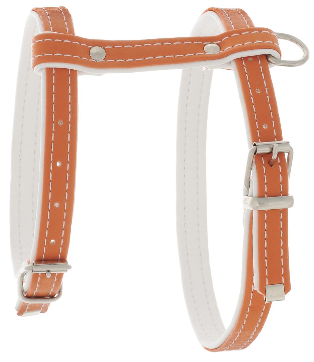 Шлейка Аркон Техно, цвет: оранжевый, белый, ширина 1,5 см, длина 10 см шлейка для собак аркон стандарт 2 водильная цвет бежевый обхват груди 80 98 см