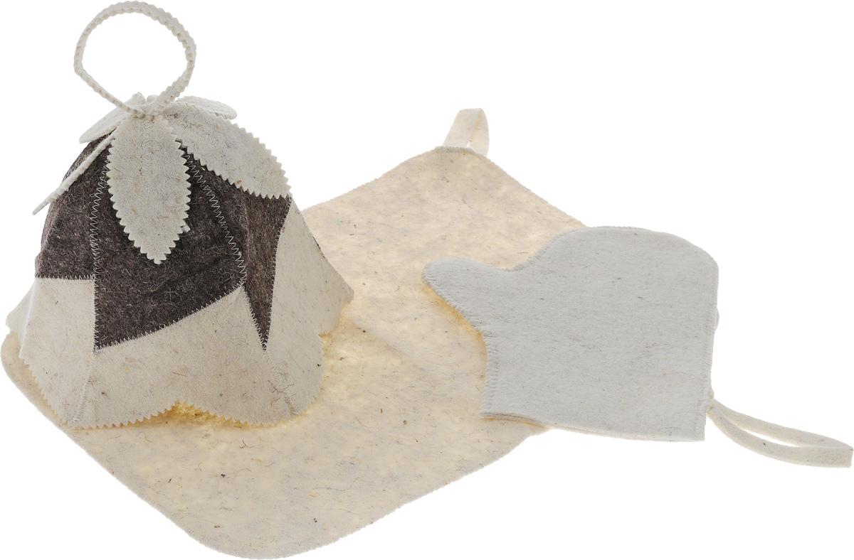Набор для бани и сауны Proffi Колокольчик, женский, 3 предметаPS0166Оригинальный набор для бани Proffi Колокольчик включает в себя шапку, рукавицу и коврик. Изделия выполнены из войлока (шерсть с добавлением полиэфира). Шапка оформлена декоративными элементами.Шапка, рукавица и коврик - это незаменимые аксессуары для любителей попариться в русской бане и для тех, кто предпочитает сухой жар финской бани. Необычный дизайн изделий поможет сделать ваш отдых приятным и разнообразным. Шапка защитит волосы от сухости и ломкости, голову от перегрева и предотвратит появление головокружения. Рукавица обезопасит ваши руки от появления ожогов, а коврик от высоких температур при контакте с горячей лавкой в парилке. На изделиях имеются петельки, с помощью которых их можно повесить на крючок в предбаннике.Такой набор станет отличным подарком для любителей отдыха в бане или сауне. Размер коврика: 48 х 32 см. Обхват головы: 67 см. Высота шапки: 23 см. Размер рукавицы: 28 х 22 см.