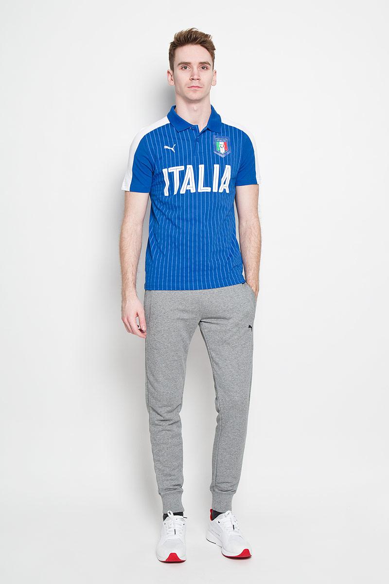 Поло мужское Puma FIGC Italia Fanwear, цвет: синий. 749104011. Размер L (48/50)749104011Стильная мужская футболка-поло Puma FIGC Italia Fanwear , изготовленная из высококачественного натурального хлопка, обладает высокой теплопроводностью, воздухопроницаемостью и гигроскопичностью, позволяет коже дышать.Модель с короткими рукавами и отложным воротником - идеальный вариант для создания оригинального современного образа. Сверху футболка-поло застегивается на 2 пуговицы. Футболка-поло оформлена крупной надписью Italia и логотипом FIGC.Такая модель подарит вам комфорт в течение всего дня и послужит замечательным дополнением к вашему гардеробу.