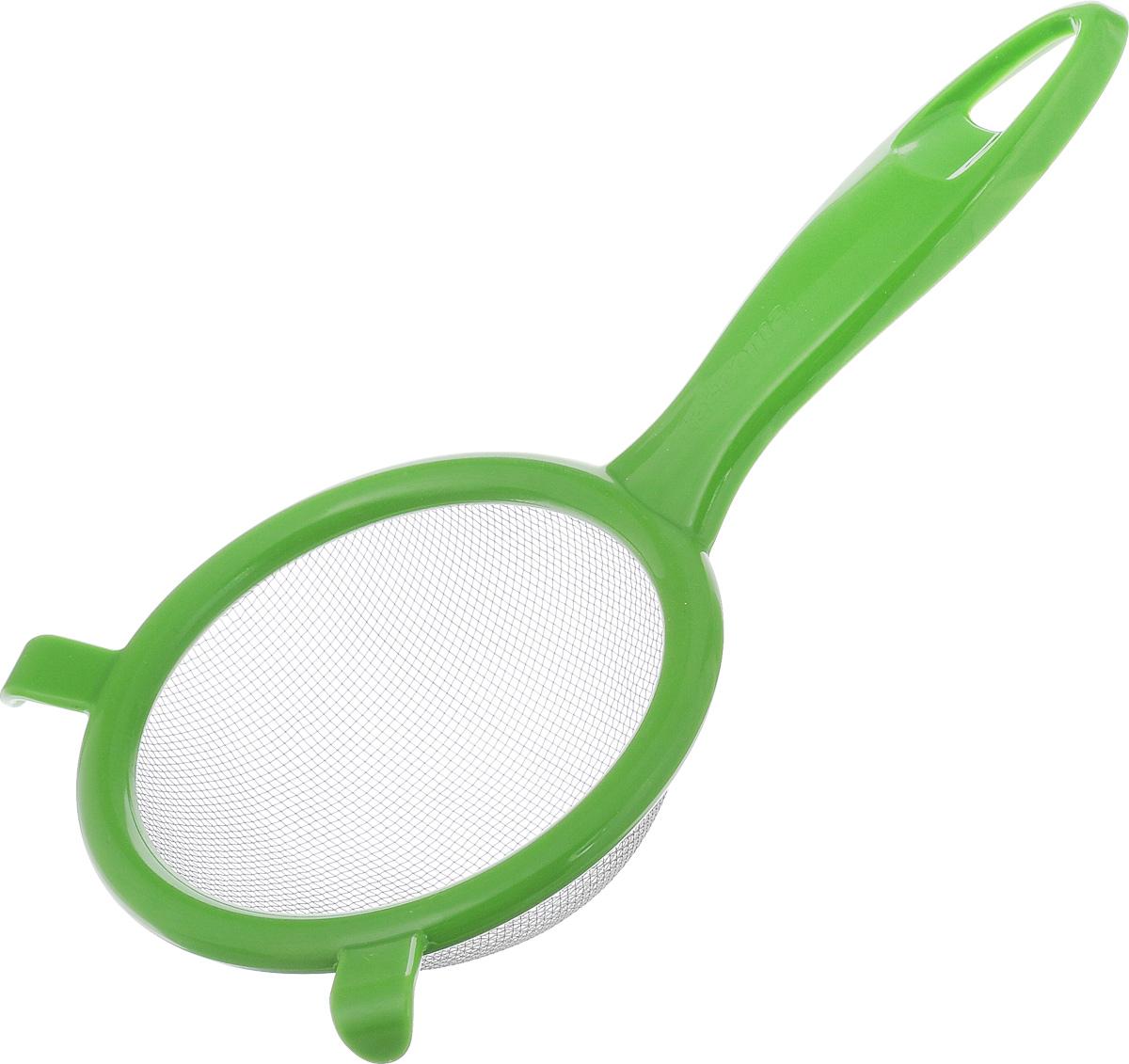 Сито Tescoma Presto, цвет: светло-зеленый, диаметр 10 см420603_светло-зеленыйСито Tescoma Presto изготовлено из высококачественной нержавеющей стали и прочного пластика. За обычным дизайном скрывается практичность и функциональность. Эргономичная ручка снабжена отверстием для подвешивания на крючок. С этим ситом вы можете просеивать сыпучие продукты, процеживать компоты и соки. Незаменимо оно станет и для приготовления детских пюре. Удобство в использовании дополняется двумя держателями.Такое сито станет незаменимым аксессуаром на вашей кухне. Можно мыть в посудомоечной машине. Диаметр сита: 10 см. Длина (с учетом ручки): 20 см.