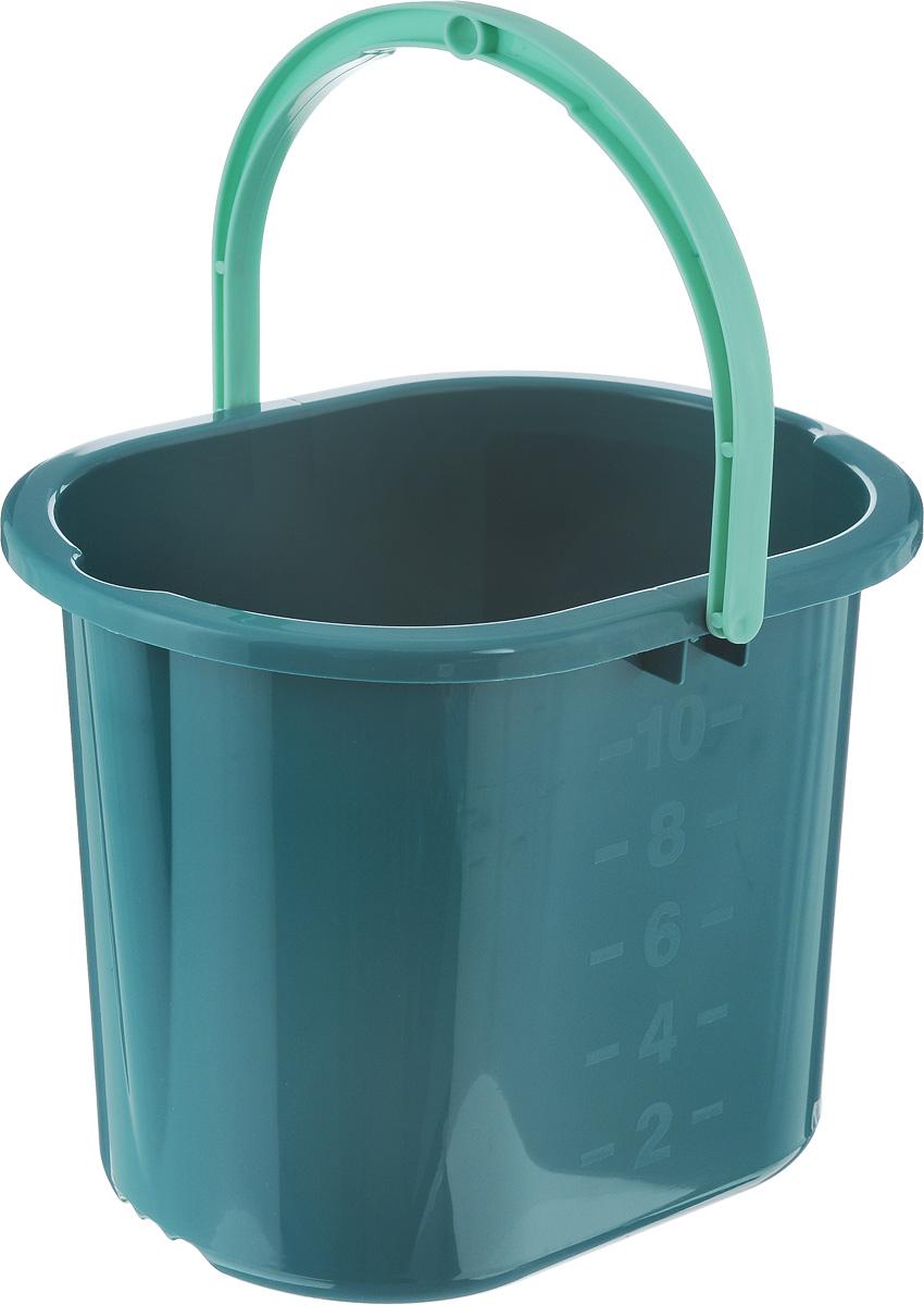 Ведро для мытья полов Hausmann, цвет: темно-зеленый, 10 лHM-1083Ведро Hausmann, изготовленное из прочного цветного пластика, порадуетпрактичных хозяек. Оно легче железного и не подвергается коррозии. Дляудобного использования ведро оснащено эргономичной ручкой.Такое ведро станет незаменимым помощником в хозяйстве.Размер (по верхнему краю): 34 х 24 см. Высота (без учета ручки): 27 см.