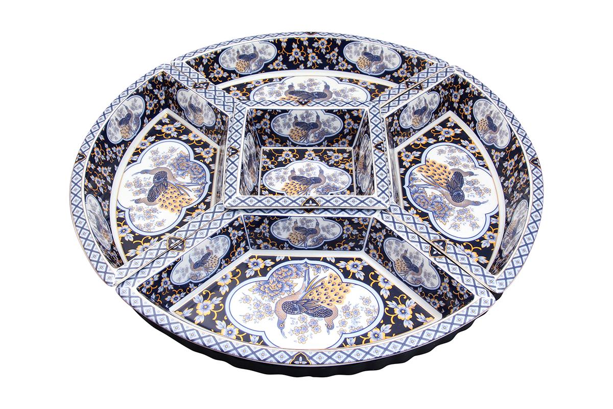 Менажница Elan Gallery Синий павлин, на подставке, 5 секций менажница elan gallery бабочки на подставке 5 секций
