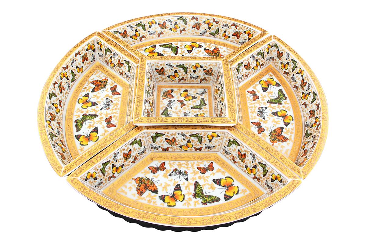 Менажница Elan Gallery Бабочки, на подставке, 5 секций200024Менажница Elan Gallery Бабочки, выполненнаяиз высококачественной керамики, состоит из 5съемных секций, оформленных изображениембабочек. Она предназначена для подачи сразунескольких видов закусок, нарезок или соусов.Изделие размещено на пластиковойвращающейся подставке. Менажница Elan Gallery Бабочки станетнастоящим украшением праздничного стола иподчеркнет ваш изысканный вкус. Не использовать в микроволновой печи. Диаметр менажницы (без учета подставки):38 см. Размер секций: 25,5 х 13 х 4 см; 12,2 х 12,2 х 4,8см. Размер подставки: 36 х 36 х 3,2 см.