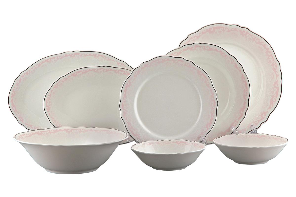 Сервиз столовый Elan Gallery Розовый шик, 23 предмета530049Столовый сервиз Elan Gallery Розовый шик прекрасно впишется в любой классический интерьер. Предметы набора выполнены из высококачественной керамики и оформлены рельефным орнаментом с серебристой каемкой. В набор входят: 6 обеденных тарелок, 6 суповых тарелок, 6 десертных тарелок, 3 салатника и 2 блюда. Набор Elan Gallery Розовый шик прекрасно оформит праздничный стол и удивит вас изысканным дизайном. Не рекомендуется применять абразивные моющие средства. Не использовать в микроволновой печи.Диаметр суповой тарелки (по верхнему краю): 22, см. Высота суповой тарелки: 4,3 см.Диаметр обеденной тарелки (по верхнему краю): 27 см. Высота обеденной тарелки: 2 см.Диаметр десертной тарелки (по верхнему краю): 21,5 см. Высота десертной тарелки: 1,8 см.Размер блюд (по верхнему краю): 26,3 х 17,7 см; 30,5 х 20,2 см. Высота блюд: 1,8 см; 2 см. Диаметр салатников (по верхнему краю): 16 см; 23,5 см. Высота салатников: 4,6 см; 7 см. Объем салатников: 400 мл; 1,3 л.