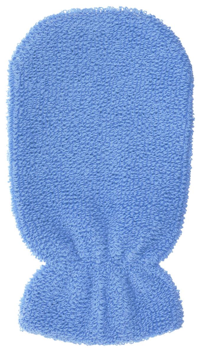 Мочалка-рукавица Riffi, мягкая, цвет: голубой riffi мочалка рукавица массажная двухсторонняя цвет синий бирюзовый 407