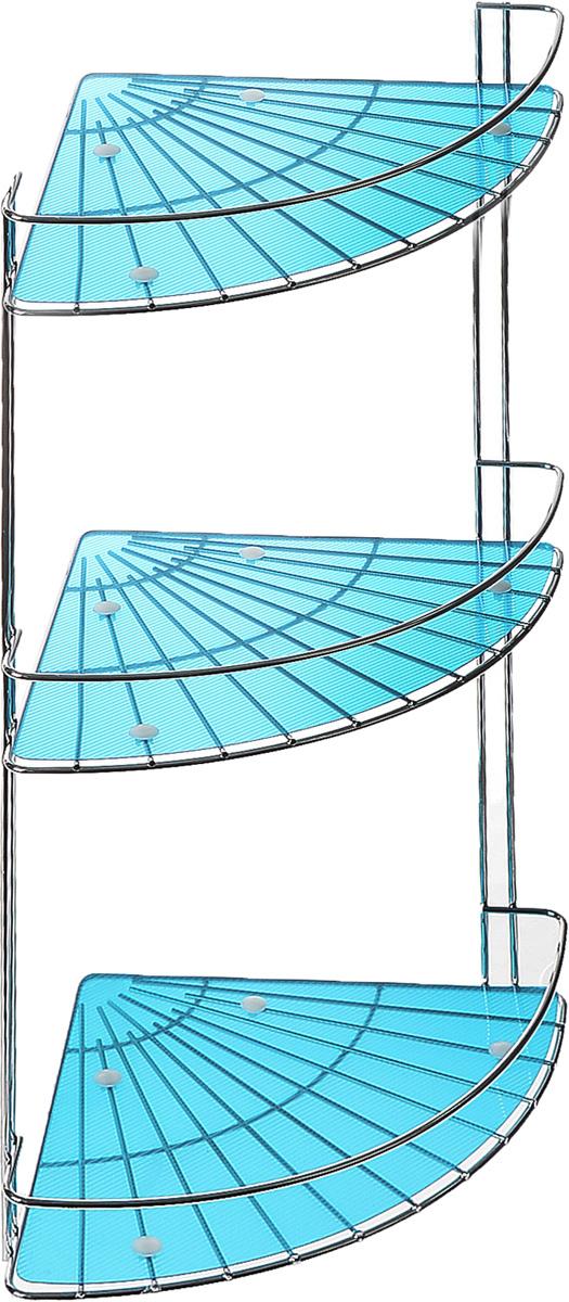 """Полка подвесная Vanstore """"Blue Slim"""", 3-ярусная, угловая, высота 48 см"""