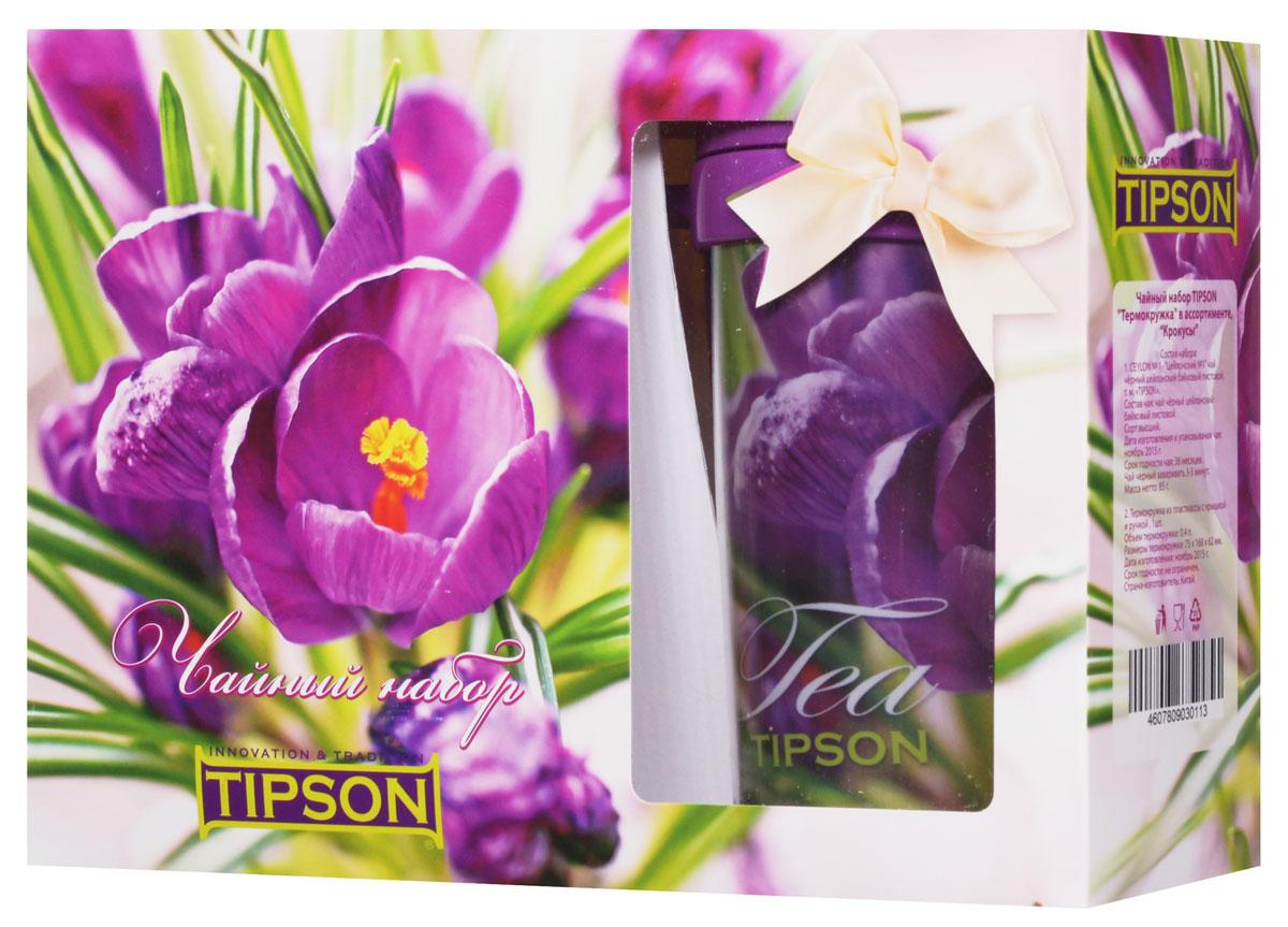 Tipson Подарочный набор Крокусы черный чай Ceylon №1 в комплекте с термокружкой, 85 г10056-00Чайный набор Tipson Крокусы с термокружкой - это удачное сочетание яркой кружки и традиционного чая Ceylon №1. Заваривая чай в термокружке Крокусы, вы получите необыкновенный заряд бодрости и отличного настроения!Объем термокружки: 0,4 л