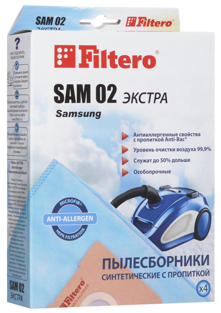 Filtero SAM 02 Экстра пылесборник (4 шт)SAM 02 (4) ЭКСТРАПылесборники Filtero SAM 02 Экстра произведены из синтетического микроволокна MicroFib с антибактериальной пропиткой Anti-Bac. Очень прочные, они не боятся острых предметов и влаги, собирают больше пыли (до 50%) и обеспечивают уровень очистки воздуха 99,9%, а также задерживают бактерии и препятствуют их распространению. При этом мощность всасывания пылесоса сохраняется в течение всего периода службы пылесборника.Пылесборники подходят для следующих моделей пылесосов:SAMSUNGNC 550NC 62...RC 550RC 58…например: RC 5862 SC 31...SC 51... Easy cleanSC 53... Easy cleanSC 69…SC 70... Duo CleaningSC 72... Eco FreshSC 75... например: SC 7540 HVC 550VC 58…например: VC 5853VC 59...VC 61…VC 63...VC 67...VC 68...VC 69...VC 71...VC 86…AKIRAVC-R 1201, 1404, 1406, VC-S 1502 BLBIMATEKV 1101, V 1801, V 6514, V 6617, V 8518, V 9009BORKVC 2516, 3119, 3216, 5017, 5317, 5817, 7516, 8022CAMERON CVC 1070CLATRONICBS 1204, 1205, 1211, 1212, 1215, 1219, 1220, 1221, 1223, 1225, 1226, 1440DE LONGHIXTD 2040, 2060, 3070, 3080, 3095 Orbit, XTH 170 CleosELEKTA EVC 2610 ZeusELENBERGVC 2036, 2038MELISSA 640-028PHOENIX VC 9949SCARLETTSC 080, 083 Clint, Marvin, 084 Antony, 086 Conrad, Peter, SC 089 Conrad, StuartSC 1080, 1081 Ferdinand, SC 1083 Rudolf,1085 Arnold, 1086 Tristan, 1088 DonaldSC 281 James, 286 Colin, 287 RichardSATURNST 1274, 1275 Lexes, 1276 Lexes, 1278 Atlas, 1284 NessonSHIVAKISVC 1412 Breeze, 1607 StormUFESAAT 4201 - 4203, 4205, 7310 - 7313VIGORHVC 1300, 1600, 1640, 2000VITEKVT 1801, 1810
