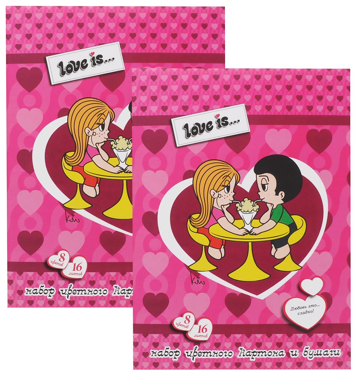 Action! Набор цветного картона и бумаги Love is... 16 листов 2 шт цвет розовый action набор цветного картона strawberry shortcake 8 листов 2 шт